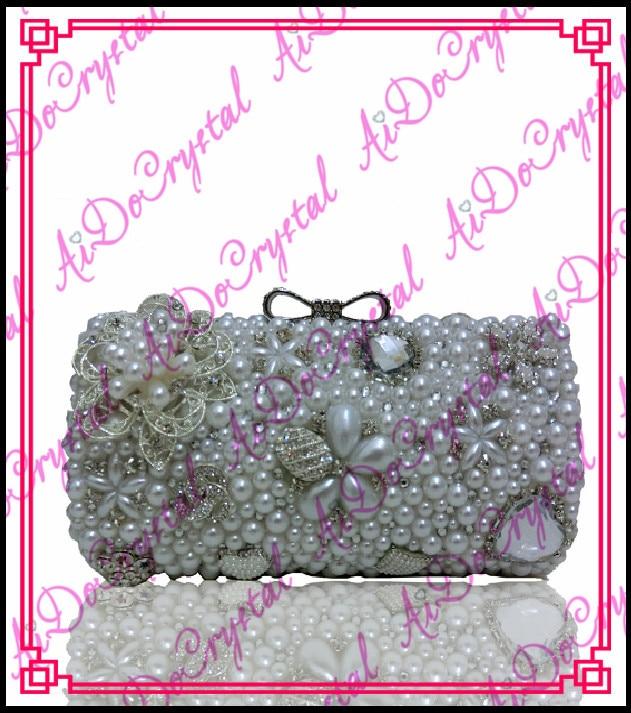 Aidocrystal silvery color Bridal jewelry lovely flower handmade font b women b font font b bag