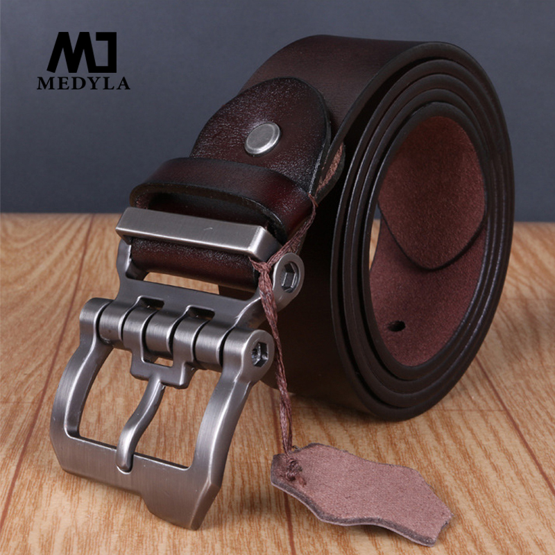 MEDYLA Personality Buckle High Quality Luxury Brand Ерлерге арналған шынайы былғары белдеуі Casual Business Men Belts Vintage Jeans Band