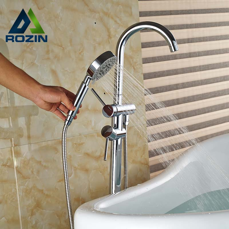Polished Chrome Floor Mount Single Handle Free Standing Bathtub Faucet with Handheld Shower