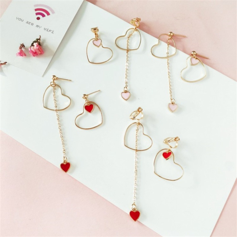 Heart-Shaped Earrings Japanese And Korean Girls Love Personality Fashion Wild Asymmetric Pendant Ear Clip Wholesale(China)