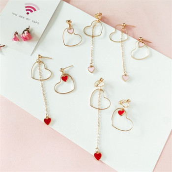 Heart-Shaped Earrings Japanese And Korean Girls Love Personality Fashion Wild Asymmetric Pendant Ear Clip Wholesale