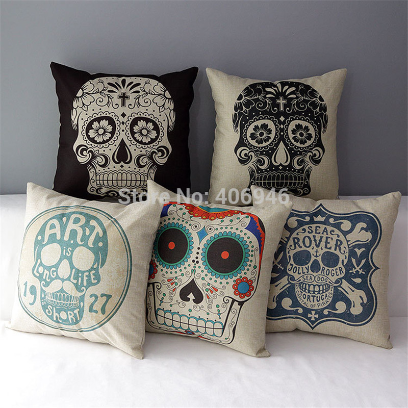 scandinavian cojines mexican skull cushion cover pillow case