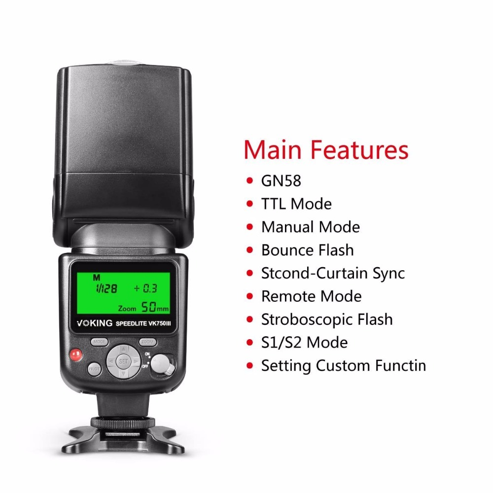 Voking 750III Remote TTL Speedlite Slave Mode Flash with LCD Display for Canon DSLR Standard Hot Shoe Cameras
