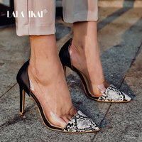 LALA IKAI Women Pumps Wedding Shoes Spring Summer High Heels PVC Snake PU Leather Sexy Party Shoes Zapatos De Mujer 014C3420 45