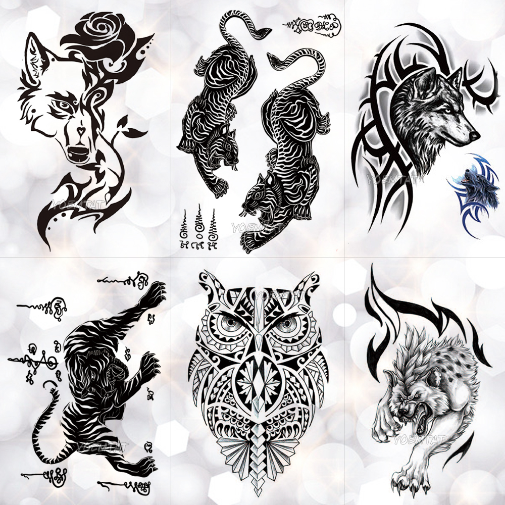 Thailand Thorn Tiger Totem Waterproof Temporary Tattoo Sticker Courage Authority Maori Flash Tattoos Body Art Arm Fake Tatoo Men