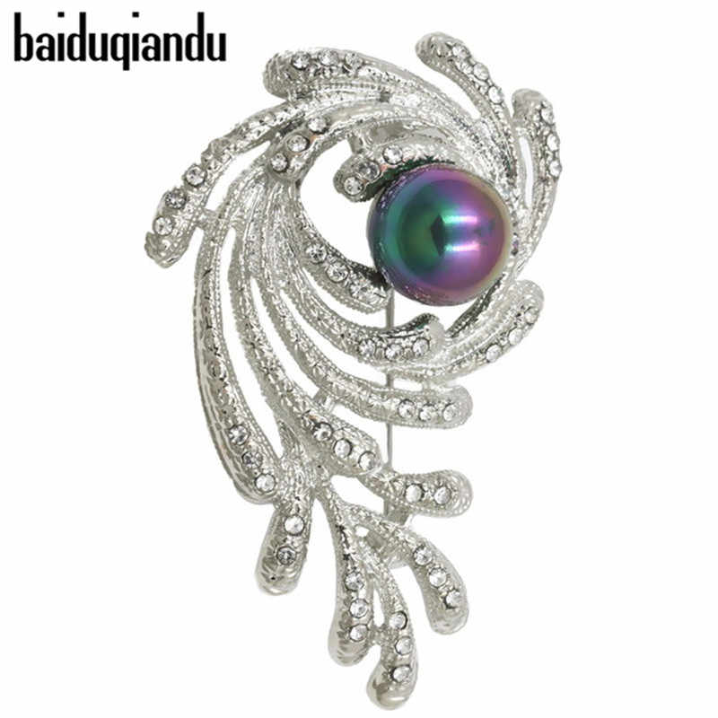 baiduqiandu Fantastic Imitation Pearl and Clear Crystal Rhinestones Eye Design  Brooch Pins for Women in Assorted 077c839d7933