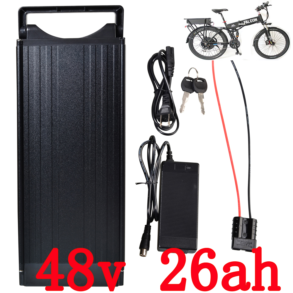 Rear rack bike electric 1000w 48v battery 48V 26Ah  for 48v Bafang/8fun 1000w/750w mid/center drive motor use For Panasonic Cell free customs taxes electric bike 36v 40ah lithium ion battery pack for 36v 8fun bafang 750w 1000w moto for panasonic cell