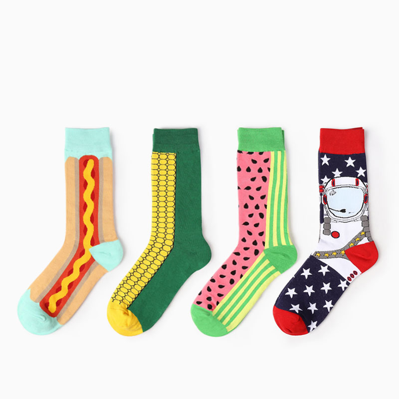 2017 new fashion Creative socks fruit corn astronaut cartoon series men cotton socks women socks