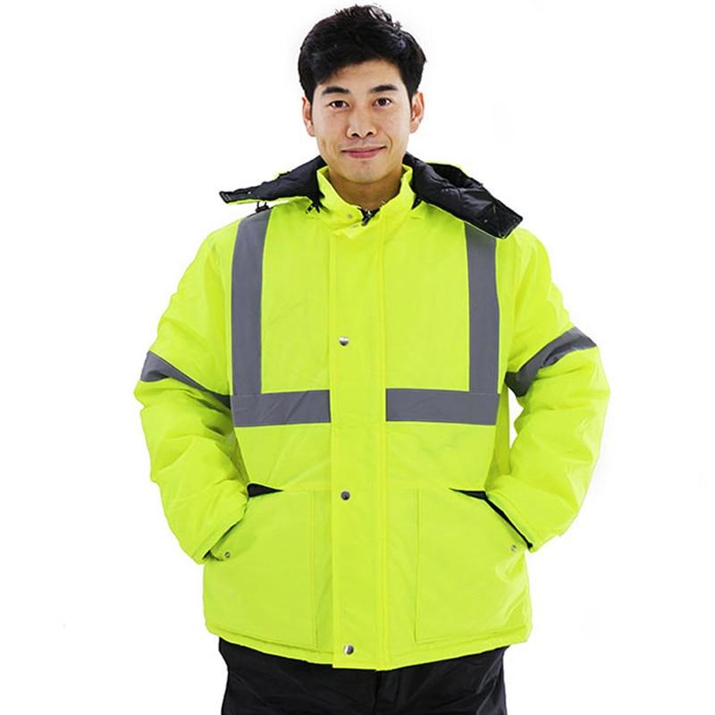 Winter Reflective Safety Jacket Road Traffic Waterproof Windproof Warm Coat Worker Repairman Outdoor Working Protective Clothing