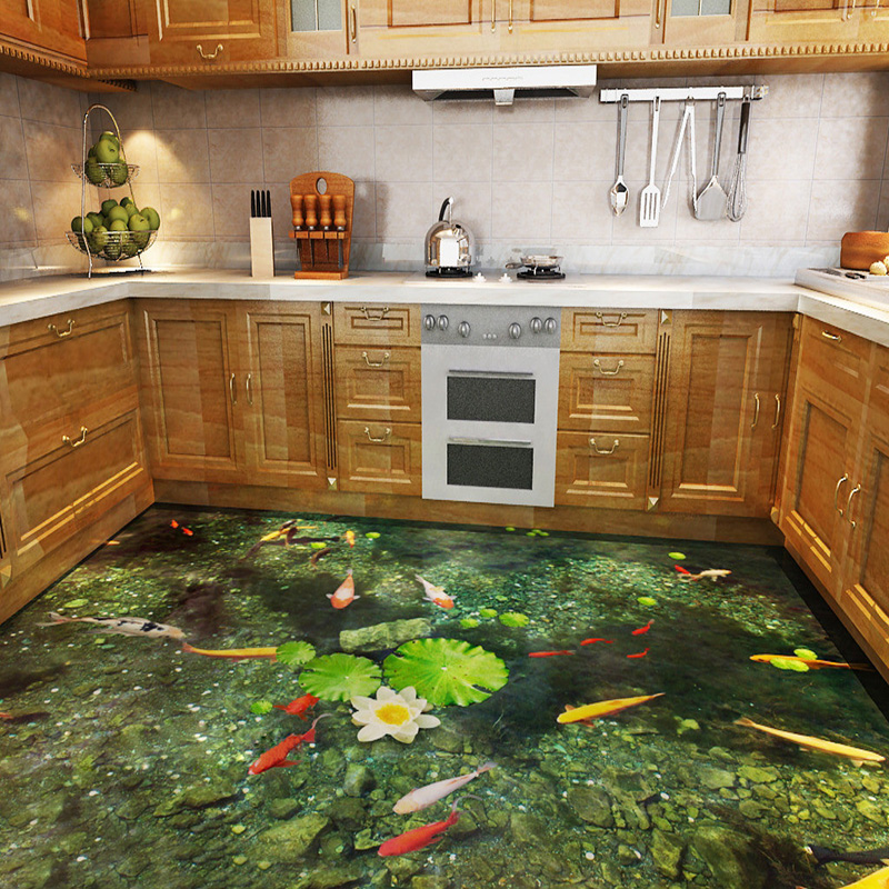 Custom 3d hd lotus pool carp wall mural floor wallpaper for 3d wallpaper for kitchen walls