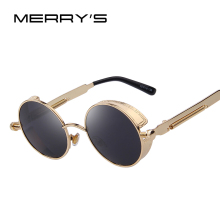 MERRY'S Men Gothic Steampunk Sunglasses Women Brand Design Round Coating Mirrored Sun glasses Oculos de sol UV400  Shades Female