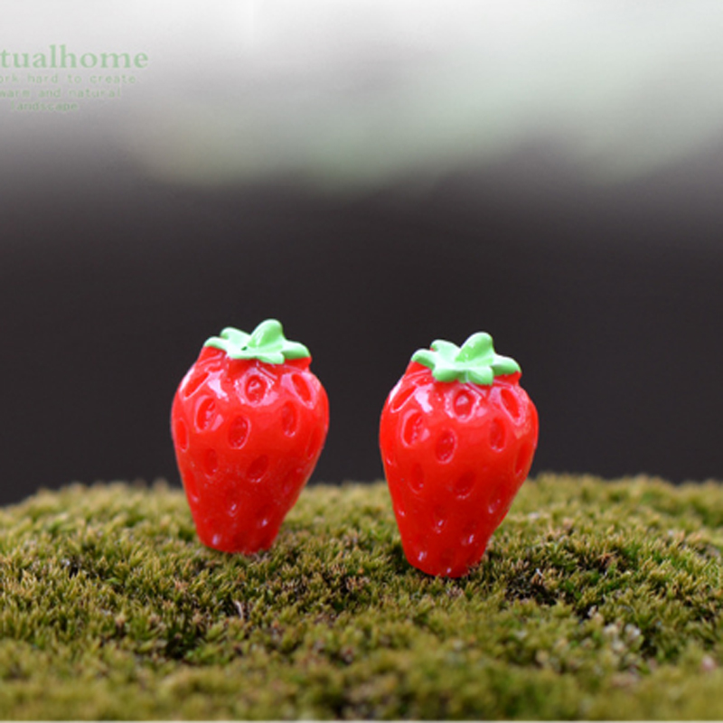 10pcs strawberry plastic crafts small fairy garden for Figurine decoration jardin