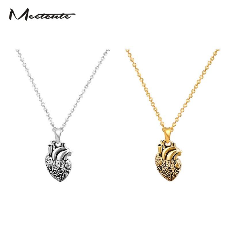 Meetcute модные креативные Анатомия сердца полости Органы кулон Цепочки и ожерелья Для мужчин Jewelry Винтаж 3D Сердце Ожерелья для мужчин