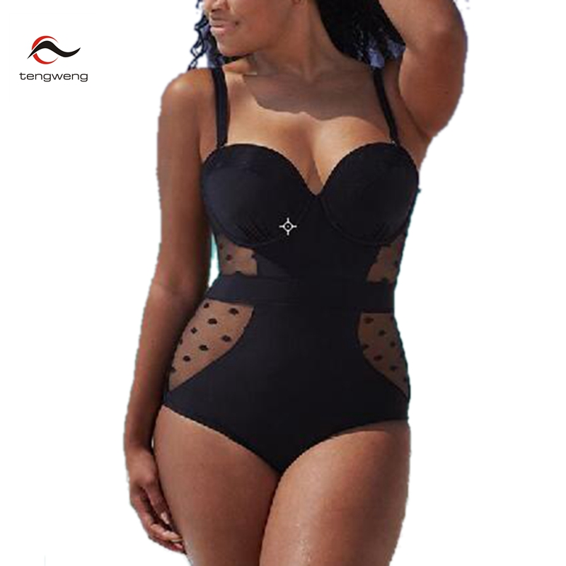 2017 New One Piece Swimsuit Women Vintage Mesh BathingSuit Bodysuit Plus Size Swimwear Beach Padded Polka Dot Black Monokini 5XL