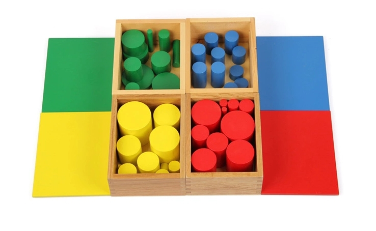 Free Shipping Baby Toys Montessori Colorful Knobless Cylinders Set of 4 font b Kids b font