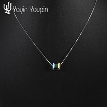 YayinYoupin 925 Sterling Silver Crystal CZ Necklace Long Chain Necklace Jewelry Wedding Necklace Accessories