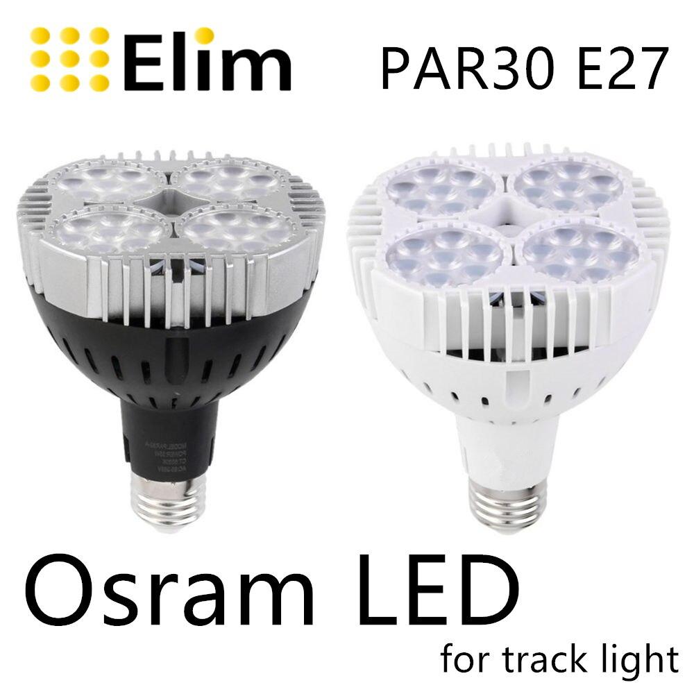 Led par30 lâmpada 30w 40 50 faixa luz par lâmpada par30 e27 cob osram led quente branco lâmpada de ponto para cozinha loja de roupas