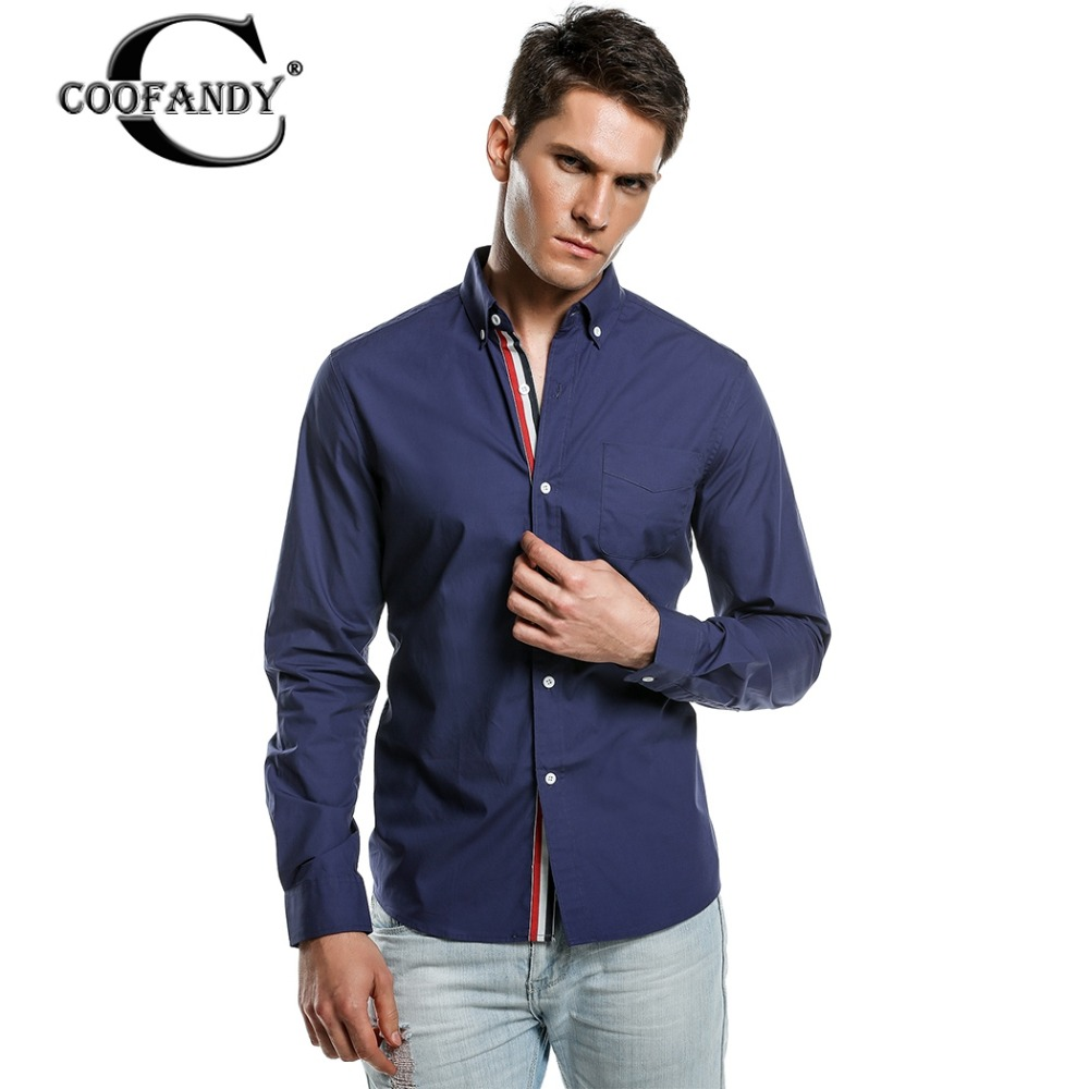 Coofandy blouse shirt spring autumn fashion men long for Black shirt business casual