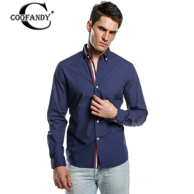 COOFANDY Blouse Shirt Spring Autumn Fashion Men Long Sleeve Lapel Career Business Men Clothing Casual Cotton Shirt Black Blue