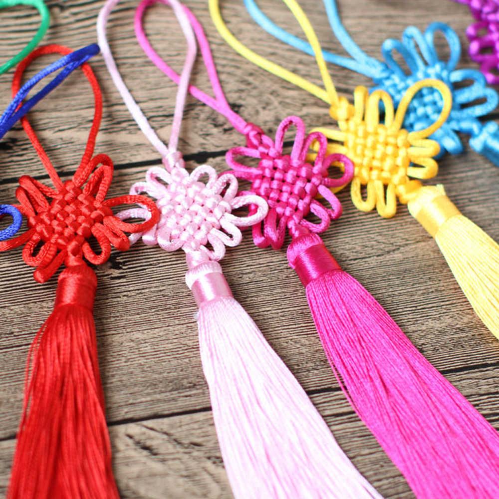 2 pçs/lote 12 centímetros Multicolor de seda nó Chinês borla franja escova Telefone Cetim Borlas Pingente borlas para artesanato DIY decoração da casa