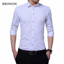 BROWON Business Shirt Men Smart Casual Shirt Embroidered Col