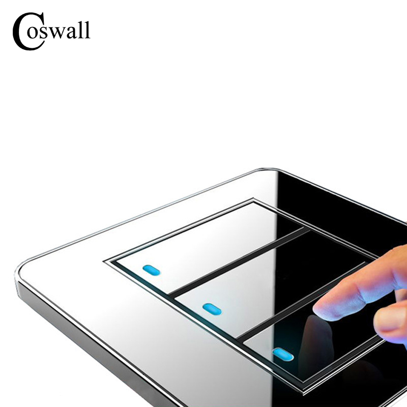 Coswall Brand New Arrival 3 Gang 1 Way Random Click Push Button Wall Light Switch With LED Indicator Acrylic Crystal Panel