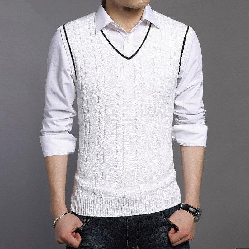 6fcba57776bc6b Cncool Wool Vest Men 2018 Autumn Winter New Classic V-neck Sleeveless  Sweater Men Cotton Knitwear ...