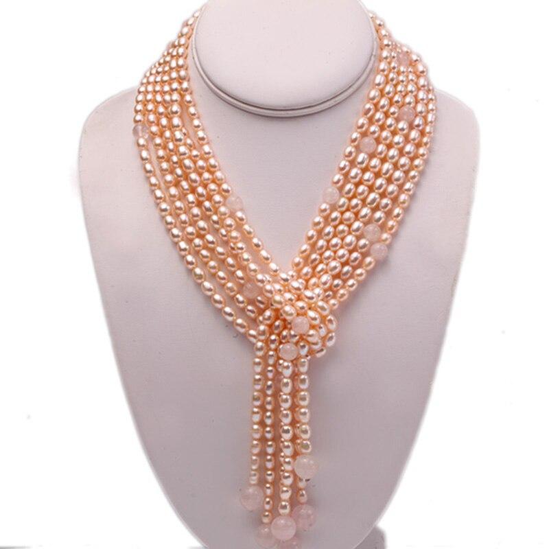 Collier Long exquis 6x8mm Rose ovale perle d'eau douce et Quartz Rose trois brins pour les femmes 48