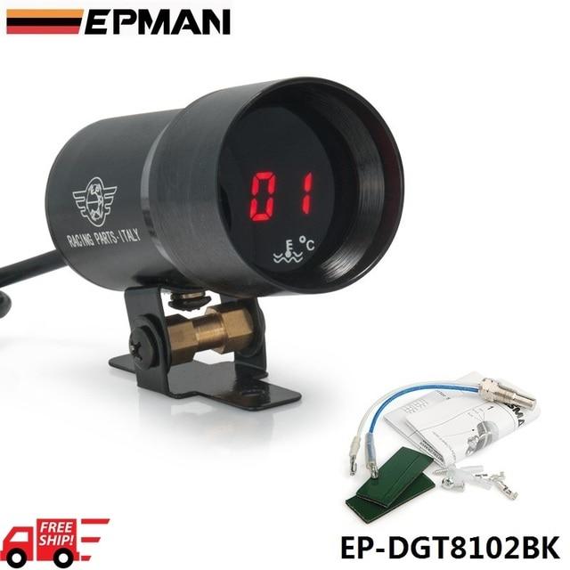 EPMAN 37mm - Compact Micro Digital Smoked Lens Water Temp Temperature Gauge Black EP-DGT8102BK-FS