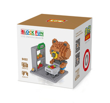 LOZ 9432 Super Market Shopping Cart Brown Bear Diamond Bricks Minifigures Building Block Best Toys Compatible with Legoe