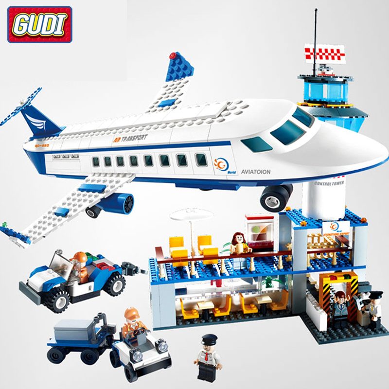 City International Airport Aviation Aircraft Building Blocks Sets Bricks Model Kids Toys For Children Gifts Compatible