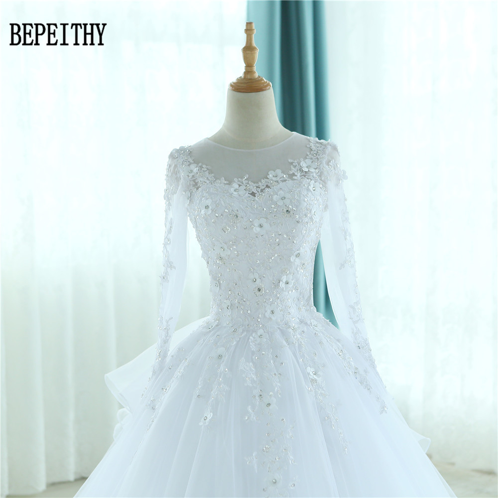BEPEITHY Robe De Mariage Gorgeous Sheer Ball Gown Wedding Dresses ...