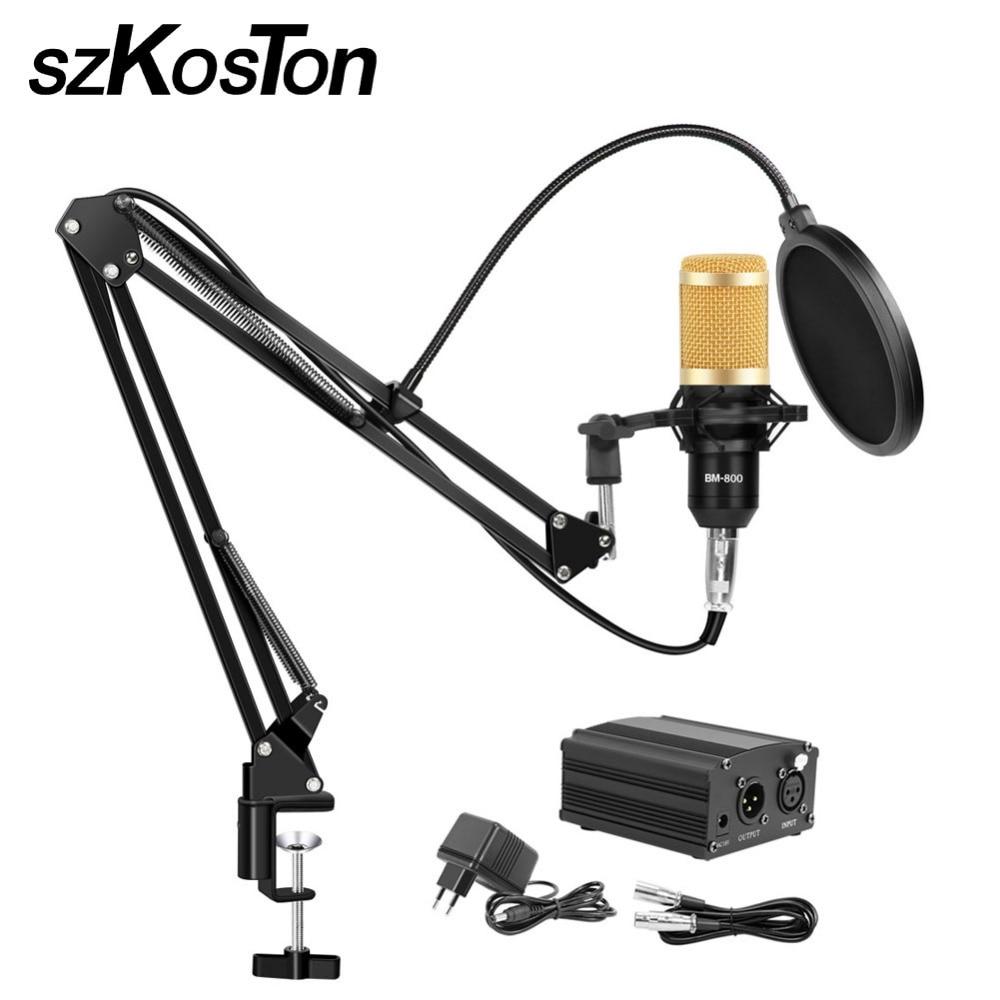 цена на Condenser Microphone BM-800 Professional Mic Kit With Adjustable Mic Suspension Scissor Stand for Studio Rrecording Karaoke Mic