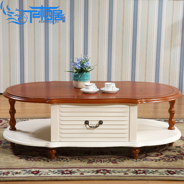 8817 Solid Wood Coffee Table Small Apartment Continental Paint Oval Tea Rustic Storage Teasideend