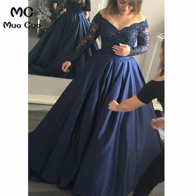 f45c272586b36 2018 New Navy Blue Prom Dresses Long Ball Gown Lace Up Back Hard Satin Long  Sleeve Formal Evening Party Dress for Women