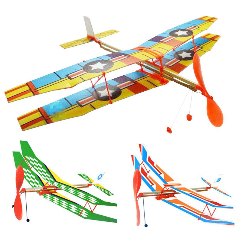 DIY Hand Throw Flying Glider Planes Elastic Rubber Band Powered Flying Airplane Plane Glider Assembly Model Toys For Children fpv x uav talon uav 1720mm fpv plane gray white version flying glider epo modle rc model airplane