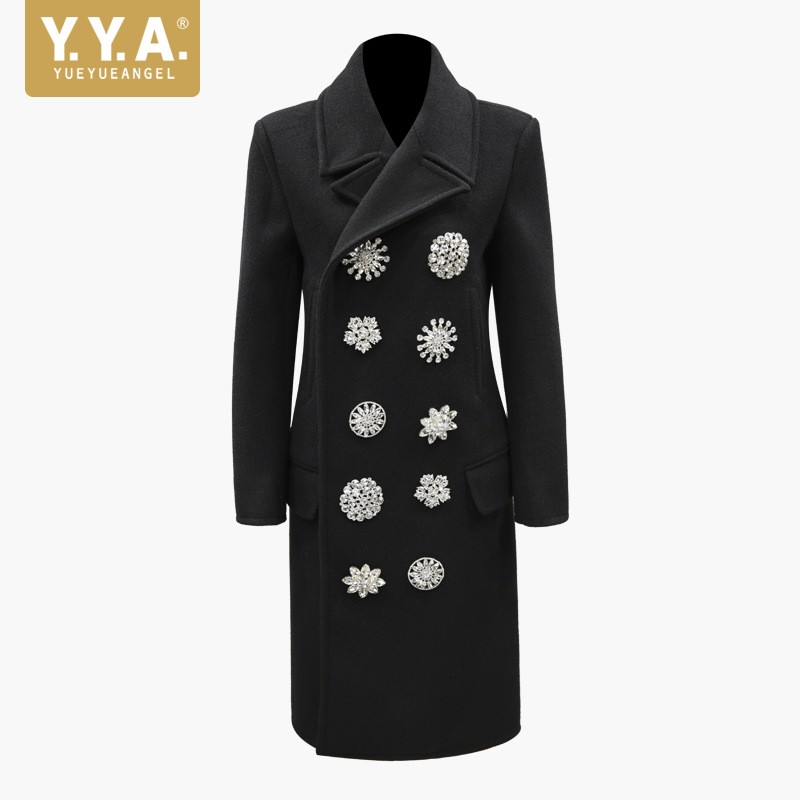 New Fashion Women Diamonds Double Breasted Woolen Long Coat Office Ladies Crystal Designer Slim Fit Outwear Wool Blends Trench