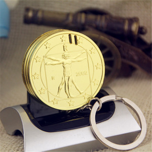 Image 2 - Creative Compact Butane Lighter Keychain Lighter Inflated Gas Jet Oil Pendant Coin One Dollar Metal Gift Key Chain