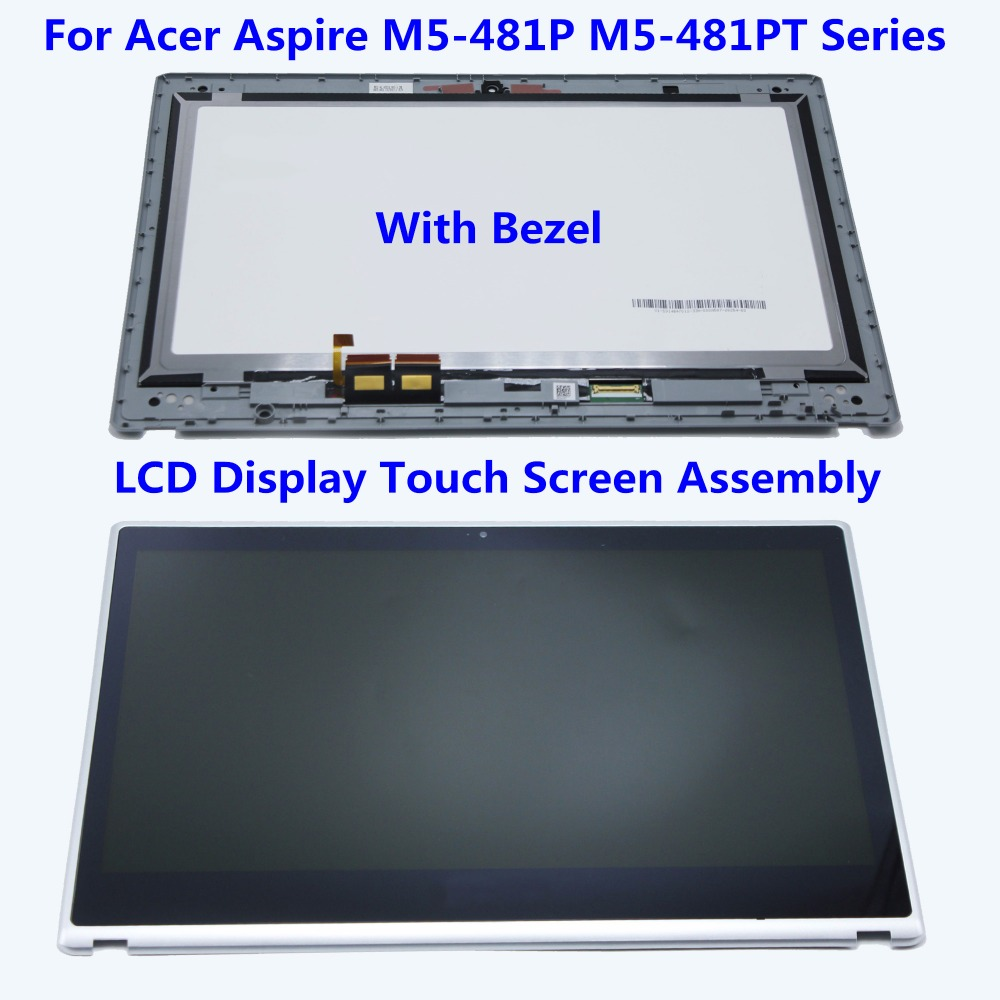 14.0'' LCD Screen Display Touch Digitizer Panel Replacement Assembly + Bezel For Acer Aspire M5-481P M5-481PT Series B140XTN02.4 камера наблюдения trek ai ball wifi ip iphone ios android sc001 p28 cctv sc001