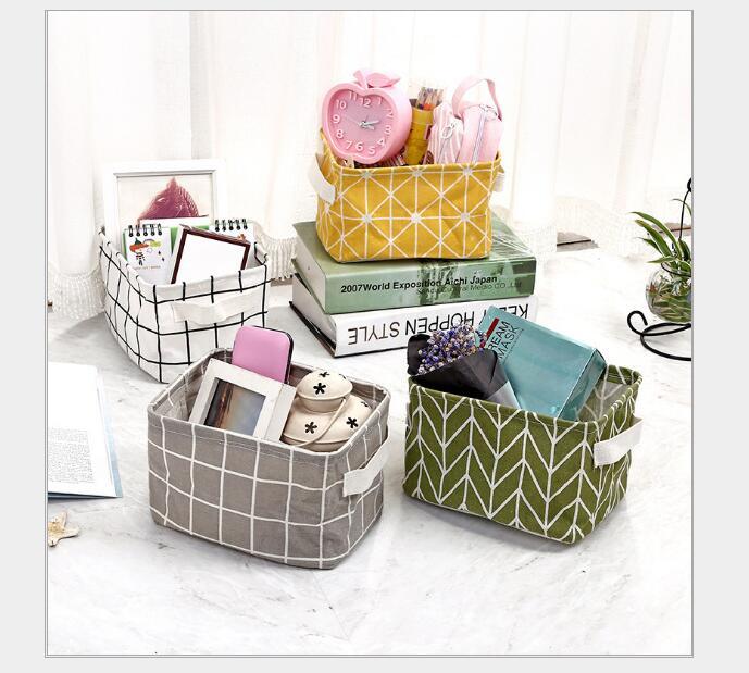 Folding Storage Basket Linen Cosmetic Box Holder DIY Desktop Sundries Organizer Jewelry Makeup Wardrobe Organizer 20x16x13cm