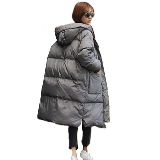 2016New Зиму Пуховик Хлопка Мягкой Женщины Свободные Плюс Размер Теплая Куртка С Капюшоном Пальто Черный Серый Верхней Одежды Женщина C357