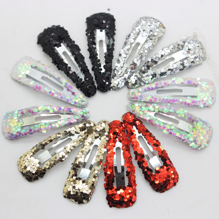 12pcs/lot kids glitter color Hair Snap Clip Kids stars headwear  Water Drop pin Hairpins hair Accessories cheap 1pcs women headwear scissors comb hair clip hair accessories headpiece hairpin headwear gold silver color drop shipping
