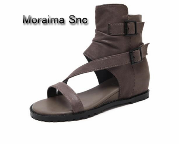 Moraima Snc newest summer boots women cut-out wedges ladies shoes buckle height increasing ankle boots for women punk style 2018 цена 2017