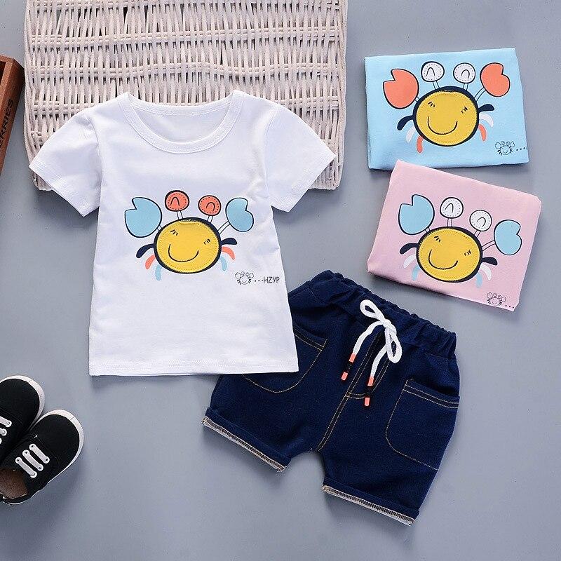 BibiCola baby boys clothes set 2018 new arrival summer sets cartoon cotton t-shirt+denim shorts 2pcs children fashion sportswear