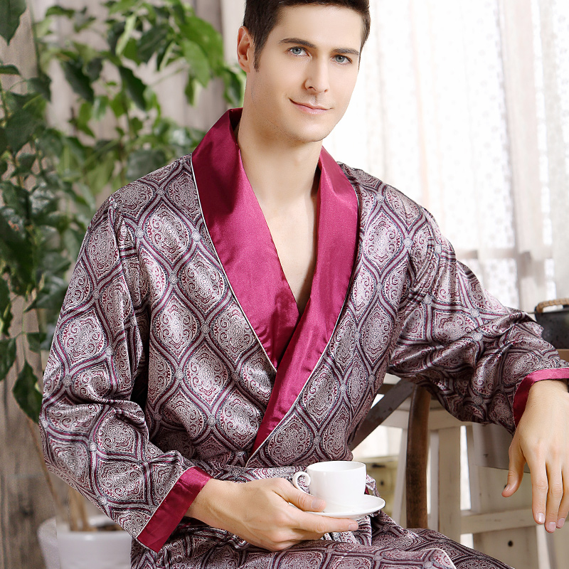 Nightgown Robes Kimono Sleepwear Satin Men Silk Male Plus-Size 5XL Home Geometric V-Neck title=