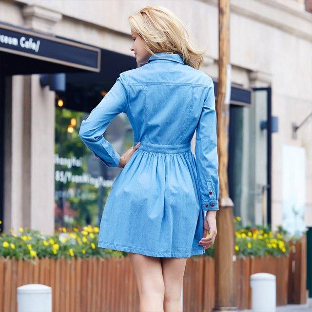 0c72935818d Veri Gude Autumn Dress Full Sleeve Denim Dress for Women Hidden Buttons Fit  and Flare HJL-Q1116