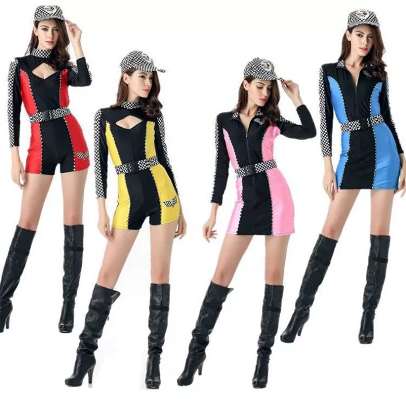 Adult Young Women Sexy Racer Bodysuit Costume Short Cute Red Blue Yellow Fancy Jumpsuit With Hat For Teen Girls Plus Size