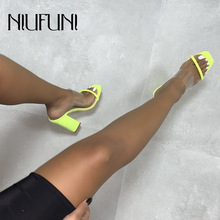 Plus Size Transparent Thick High Heels Womens Sandals 2019 New Fluorescent Color Wear Casual Female Ladies Slippers
