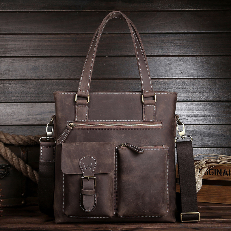 YISHEN Business Men Handbags Large Capacity Messenger Bags Crazy Horse Genuine Leather Men Shoulder Bag Vintage Briefcase MS0218