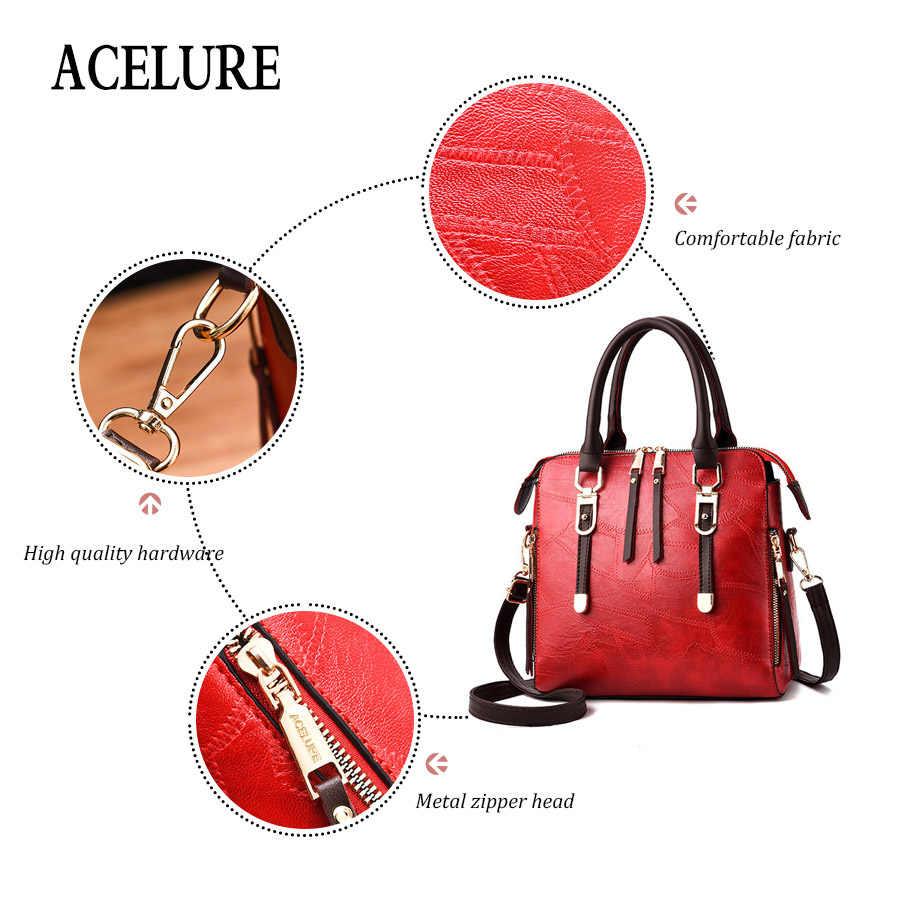 ACELURE نمط بسيط حقائب كتف المرأة الصلب مقبض حقائب لينة بولي Leather حقائب جلدية Crossbody للإناث حقيبة بلون